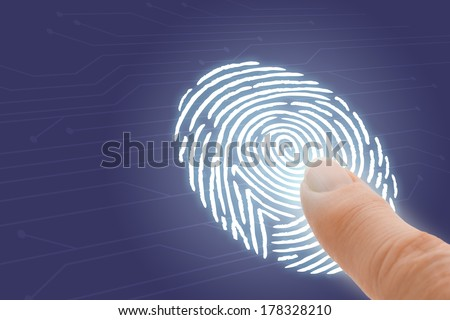 Online Identification and Security with Finger Pointing at Fingerprint  - stock photo