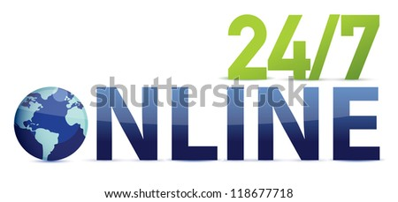 online 24 7 illustration design over white background - stock photo