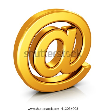 Online internet communication and computer PC network connection digital technology business web concept: 3D render illustration of shiny golden metallic email AT symbol isolated on white background - stock photo