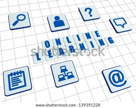 online learning and internet signs - text and symbols in 3d white blocks with blue letters, education concept words - stock photo