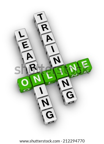 online learning and training crossword puzzle - stock photo