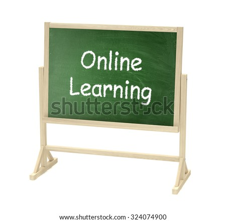 Online learning concept. Blackboard, chalkboard isolated on white