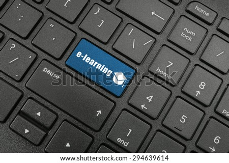 Online learning concept with laptop computer keyboard - stock photo