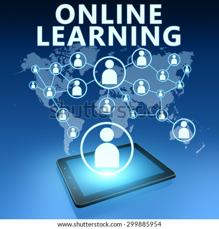 Online Learning illustration with tablet computer on blue background - stock photo