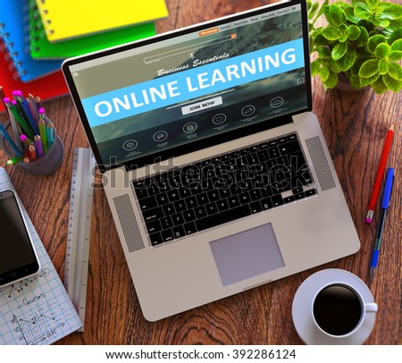 Online Learning Offer on Landing Page of Laptop Screen. Distance Learning Concept. 3D Render. - stock photo