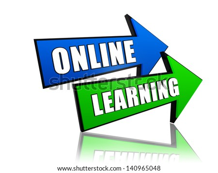 online learning - text in 3d arrows, education concept words