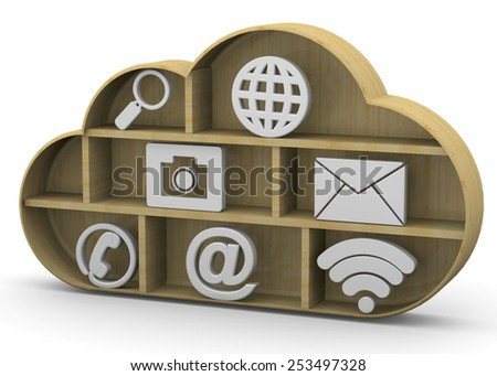 Online Library Concept on white background - stock photo