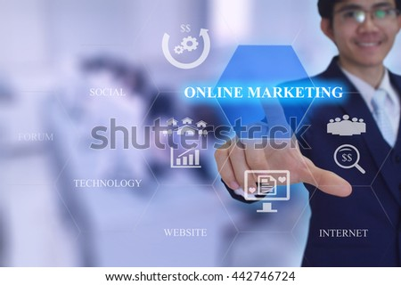 ONLINE MARKETING  concept presented by  businessman touching on  virtual  screen  - stock photo
