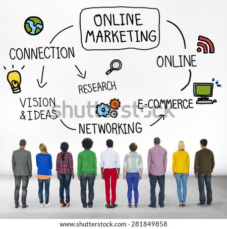 Online Marketing E-commerce Commercial Strategy Concept - stock photo