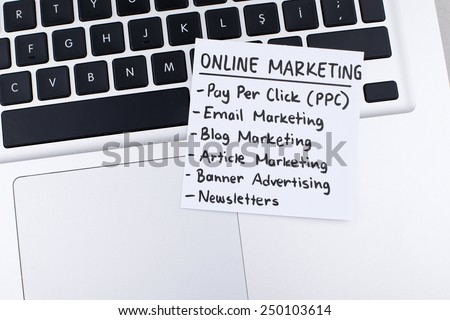 Online Marketing / Pay Per Click, E-mail Marketing, Blog Marketing, Article Marketing, Banner Advertising, Newsletters - stock photo