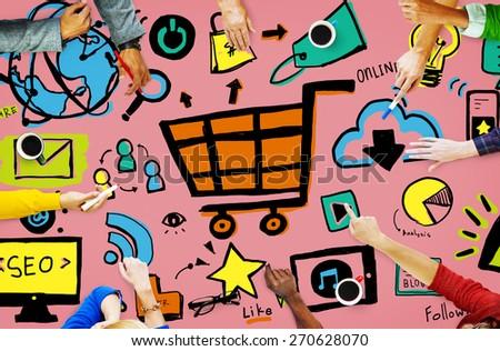 Online Marketing Strategy Branding Commerce Advertising Concept - stock photo