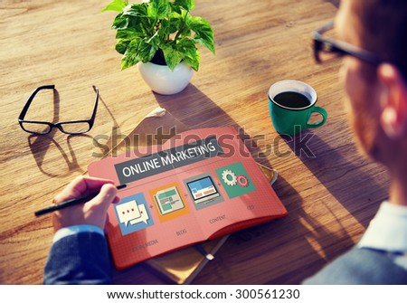 Online Marketing Strategy Branding Commerce Advertising Concept - stock photo
