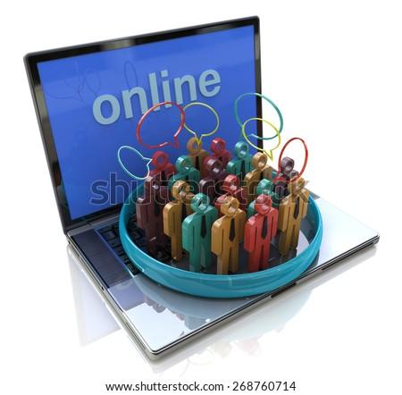 Online meeting. People talk meet in a social media network speech bubble  - stock photo