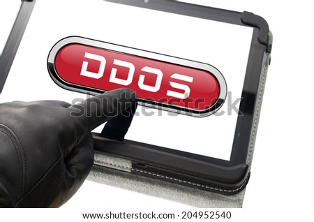 Online mobile distributed denial attack concept with hand wearing black glove pointing a touch screen - stock photo