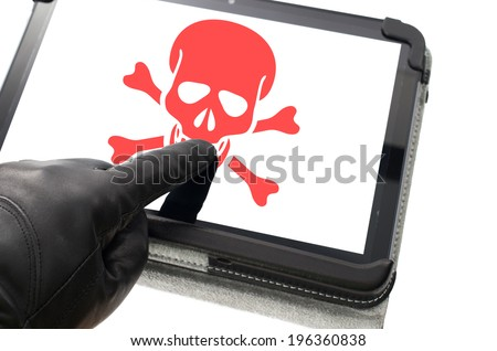 Online mobile hacking concept with hand wearing black glove pointing a touch screen - stock photo