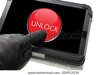 Online mobile unlocking concept with hand wearing black glove pointing a touch screen - stock photo