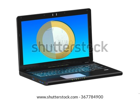 Online money concept with laptop and coin isolated on white background