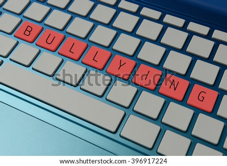 online or cyber bullying concept with a computer  - stock photo