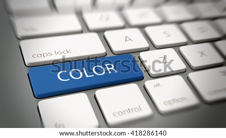 Online or internet concept with white text - COLOR - on a blue enter key on a white computer keyboard viewed at an oblique high angle with blur vignette for focus. 3d Rendering.