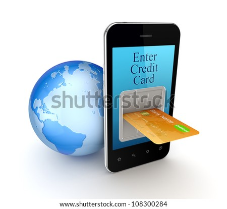 Online payment concept.Isolated on white background.3d rendered. - stock photo