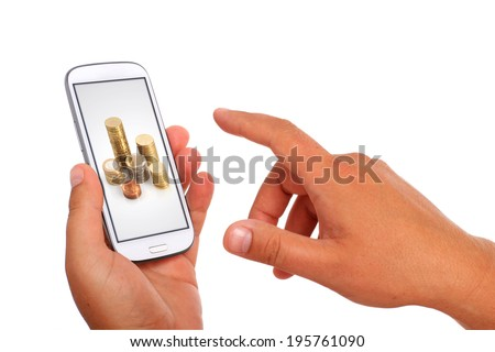 Online payment concept. Mini tablet in hand. - stock photo