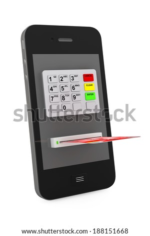 Online payments concept. Mobile Phone with ATM and Credit Card on a white background