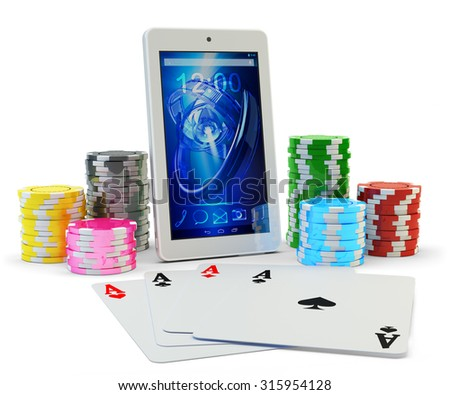 Online poker application, virtual casino and gambling concept, four aces playing cards and colorful chips around modern mobile phone isolated on white background - stock photo