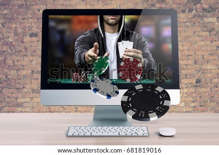Online poker game, with the poker player coming out of the computer screen.