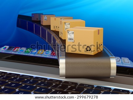 Online purchases and internet shopping concept, packages delivery service, cardboard boxes on conveyor belt from laptop screen - stock photo