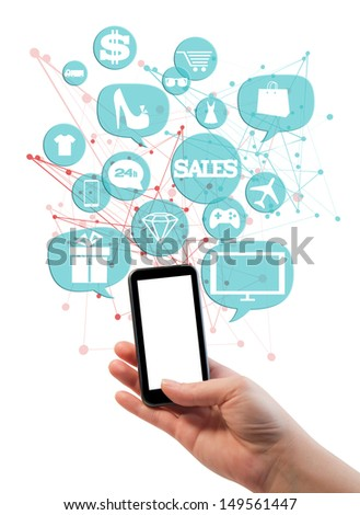Online sales shopping or shop business template./ Hand holding phone/mobile, bubbles/buttons floating of it with online shopping icons.