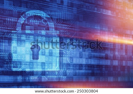 Online Secure Connection Concept Illustration with Padlock and Cyber Background. Online Encryption Technologies. - stock photo
