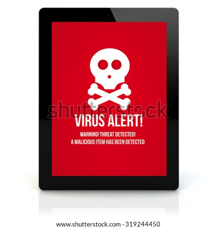online security concept: render of a tablet pc with virus on the screen. Screen graphics are made up. - stock photo