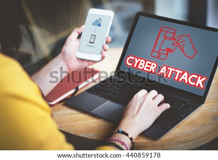 Online Security Cyber Attack Graphic Concept - stock photo