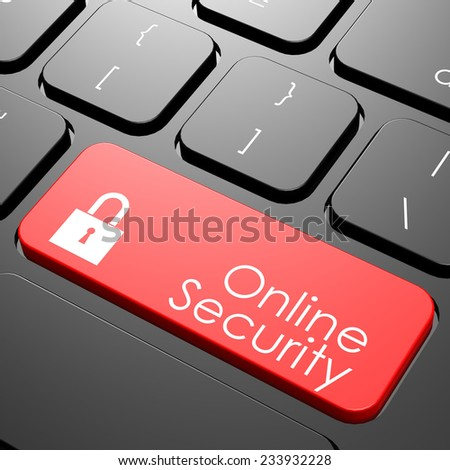 Online security keyboard image with hi-res rendered artwork that could be used for any graphic design. - stock photo