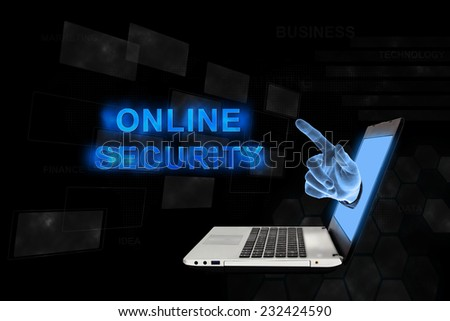 online security word from laptop with digital background - stock photo