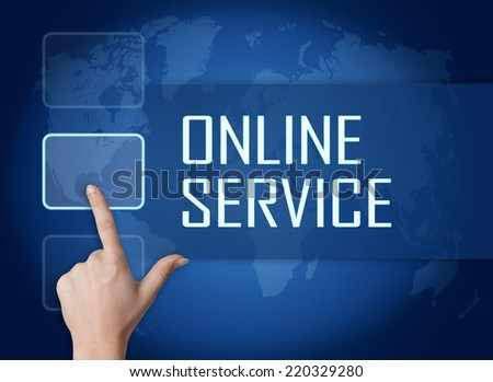 Online Service concept with interface and world map on blue background - stock photo