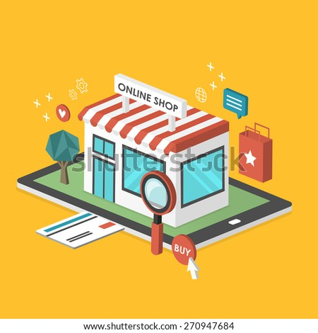 online shop 3d isometric infographic with a store showed up from tablet - stock photo