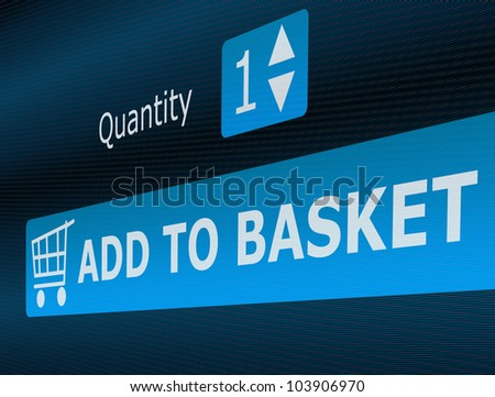 Online Shopping - Add To Basket Button - stock photo