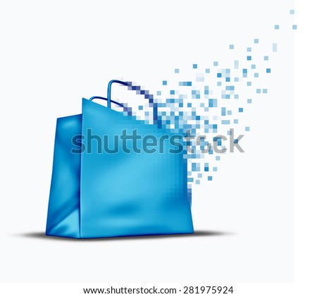 Online shopping and e-commerce concept as an internet store sale symbol with a shop bag that is transforming into digital pixels for web commerce in cyberspace. - stock photo