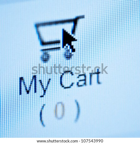 Online Shopping - arrow  Pushing on empty basket button - stock photo