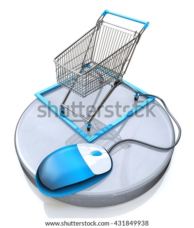 Online shopping, blue computer mouse connected to a shopping cart in the design of information related to e-commerce. 3d illustration - stock photo