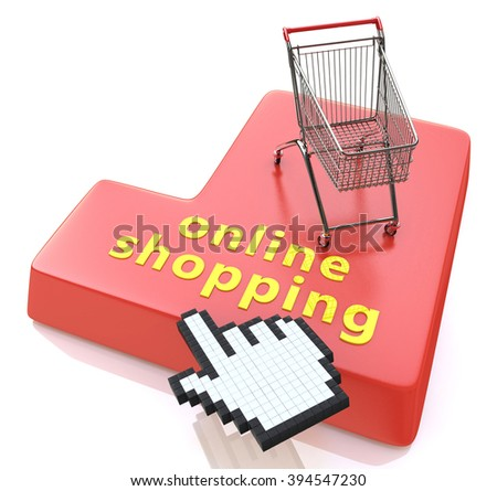Online shopping button - e-commerce concept in the design of the information related to the Internet - stock photo