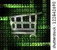 online shopping cart and binary code illustration - stock photo