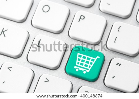 Online shopping cart icon for e-commerce concept - stock photo