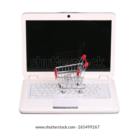 online shopping. cart on laptop isolated on white background