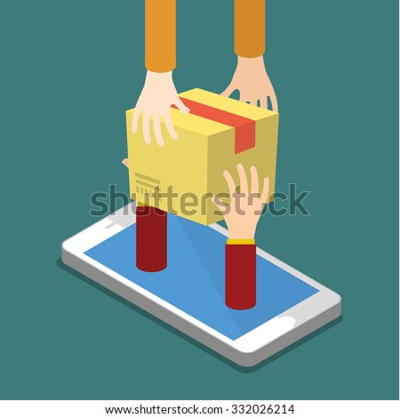 Online shopping concept and fast delivery. Flat design colored illustration. - stock photo
