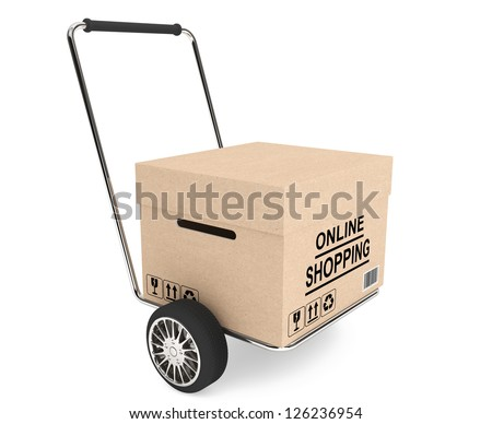 Online shopping concept. Box with cart on a white background - stock photo