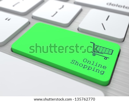 Online Shopping Concept. Button on Green Modern Computer Keyboard. 3D Render.