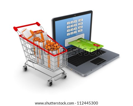 Online shopping concept.Isolated on white background.3d rendered. - stock photo
