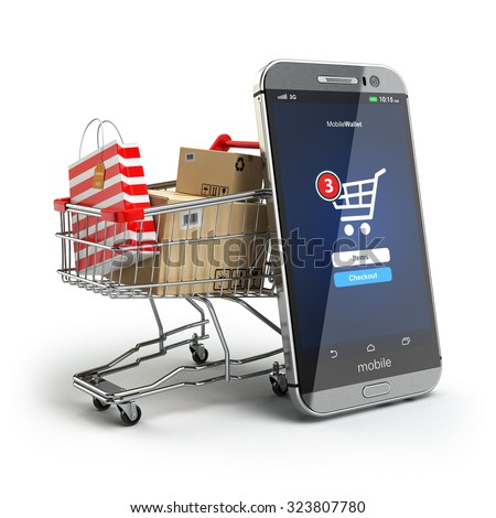 Online shopping concept. Mobile phone or smartphone with cart and boxes and bag. 3d - stock photo